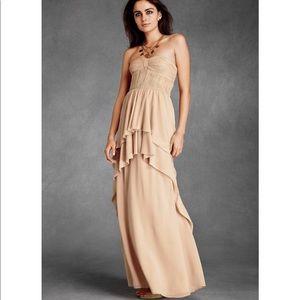 BHLDN Aqueos Column Dress Beige Strapless 4 NWOT